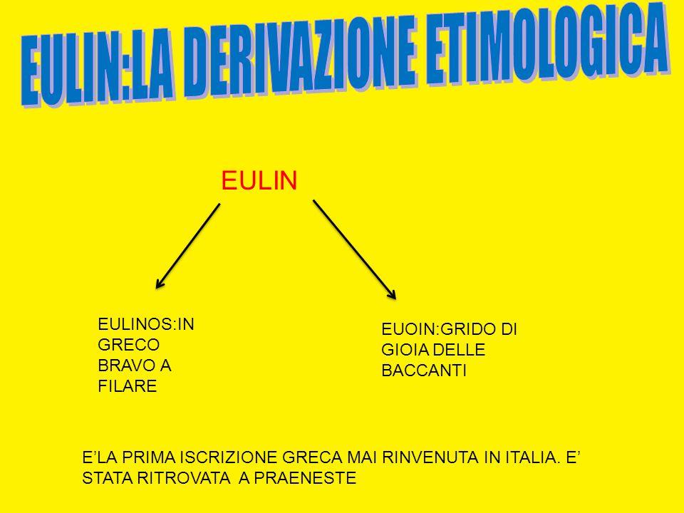 EULIN:BRAVO A FILARE EULIN EULINOS:IN GRECO BRAVO A FILARE EUOIN:GRIDO DI GIOIA DELLE BACCANTI ELA PRIMA ISCRIZIONE GRECA MAI RINVENUTA IN ITALIA. E S