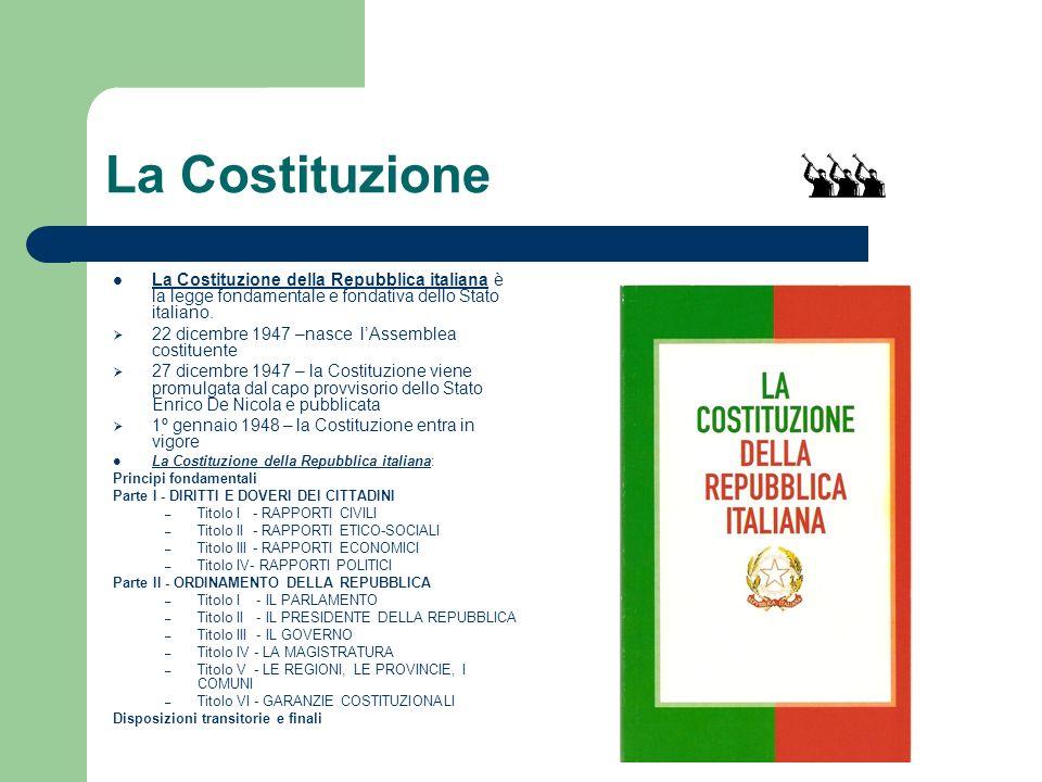 La Costituzione La Costituzione della Repubblica italiana è la legge fondamentale e fondativa dello Stato italiano. 22 dicembre 1947 –nasce lAssemblea