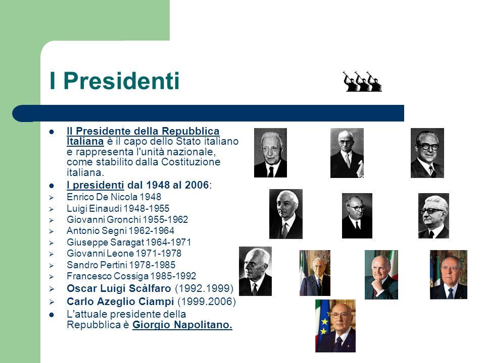 I Presidenti Il Presidente della Repubblica Italiana è il capo dello Stato italiano e rappresenta l'unità nazionale, come stabilito dalla Costituzione