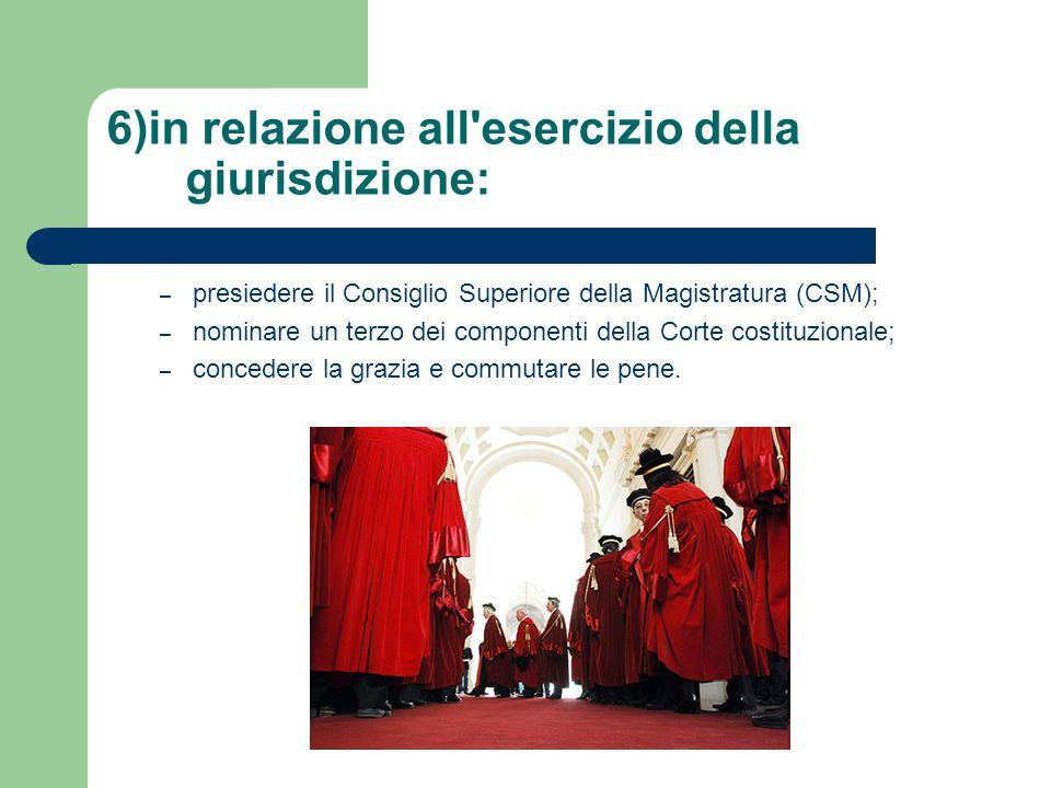 6)in relazione all'esercizio della giurisdizione: –p–presiedere il Consiglio Superiore della Magistratura (CSM); –n–nominare un terzo dei componenti d