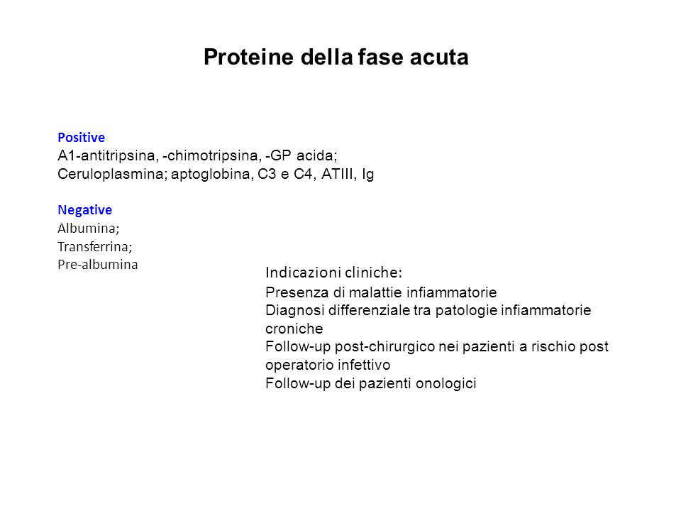 Proteine della fase acuta Positive Α1-antitripsina, -chimotripsina, -GP acida; Ceruloplasmina; aptoglobina, C3 e C4, ATIII, Ig Negative Albumina; Tran