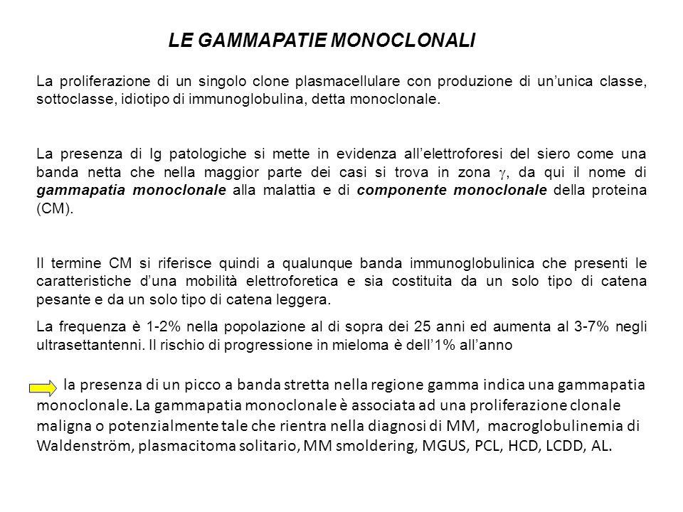 La proliferazione di un singolo clone plasmacellulare con produzione di ununica classe, sottoclasse, idiotipo di immunoglobulina, detta monoclonale. L