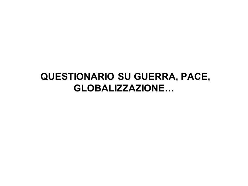 QUESTIONARIO SU GUERRA, PACE, GLOBALIZZAZIONE…