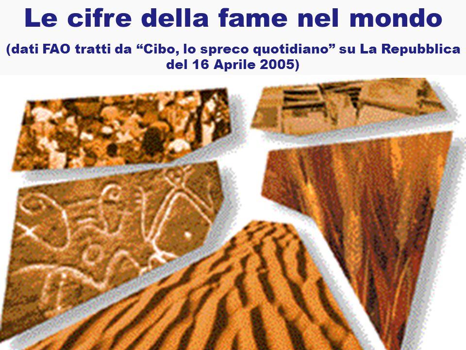 Le cifre della fame nel mondo (dati FAO tratti da Cibo, lo spreco quotidiano su La Repubblica del 16 Aprile 2005)