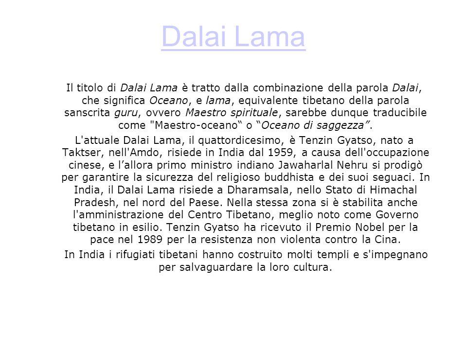 Dalai Lama Il titolo di Dalai Lama è tratto dalla combinazione della parola Dalai, che significa Oceano, e lama, equivalente tibetano della parola sanscrita guru, ovvero Maestro spirituale, sarebbe dunque traducibile come Maestro-oceano o Oceano di saggezza.