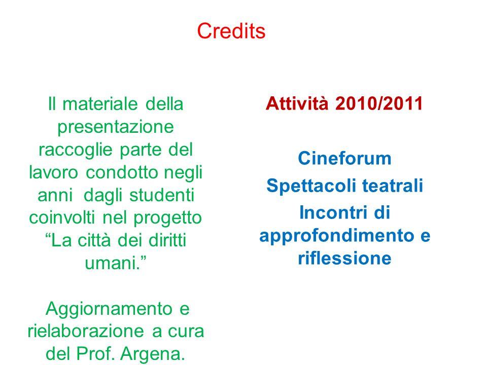 Credits Attività 2010/2011 Cineforum Spettacoli teatrali Incontri di approfondimento e riflessione Il materiale della presentazione raccoglie parte de
