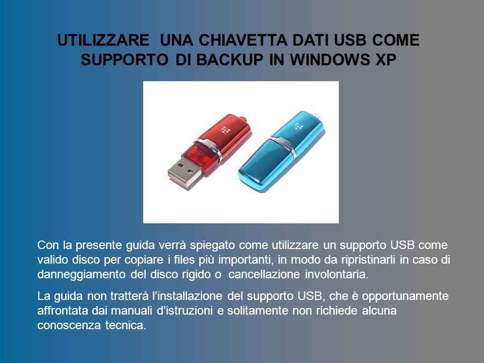 UTILIZZARE UNA CHIAVETTA DATI USB COME SUPPORTO DI BACKUP IN WINDOWS XP Con la presente guida verrà spiegato come utilizzare un supporto USB come vali