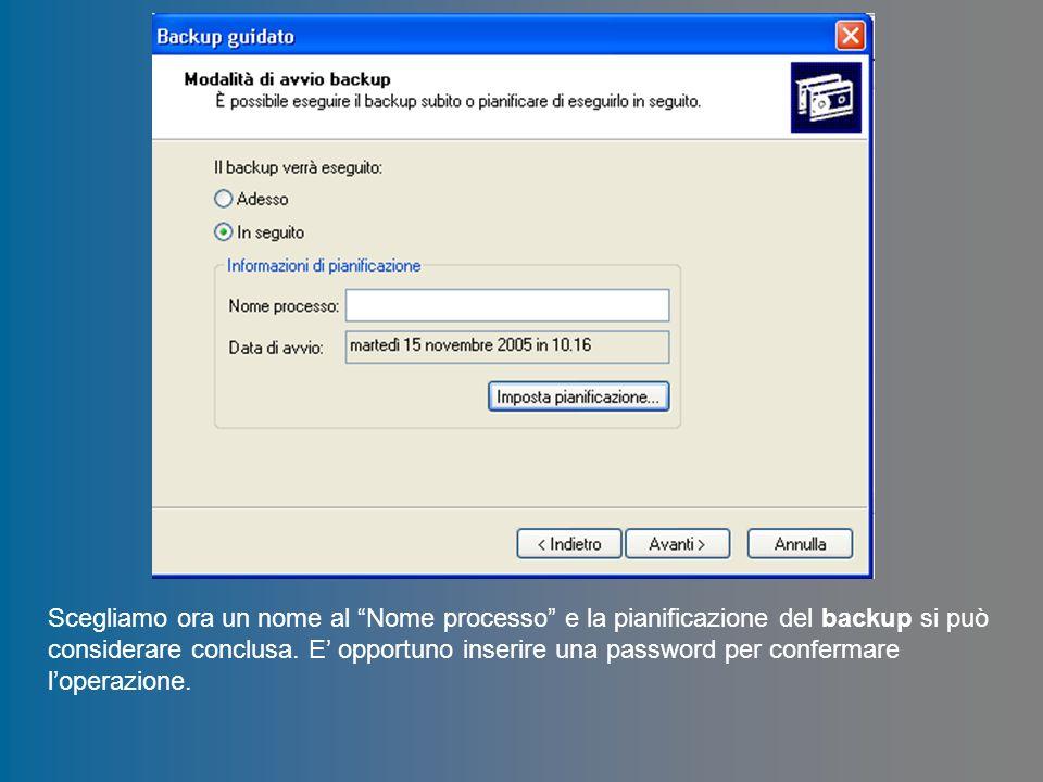 Scegliamo ora un nome al Nome processo e la pianificazione del backup si può considerare conclusa. E opportuno inserire una password per confermare lo
