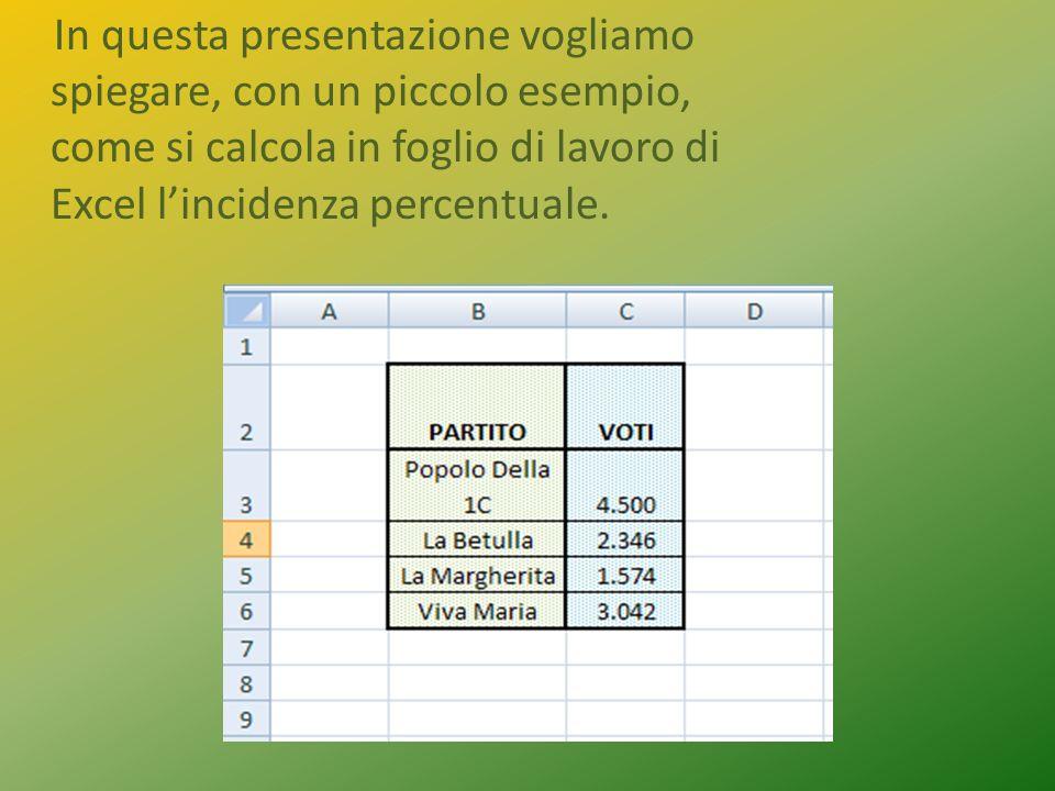 In questa presentazione vogliamo spiegare, con un piccolo esempio, come si calcola in foglio di lavoro di Excel lincidenza percentuale.