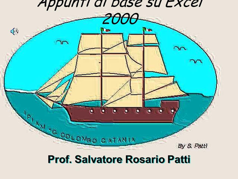 Appunti di base su Excel 2000 Prof. Salvatore Rosario Patti Prof. Salvatore Rosario Patti