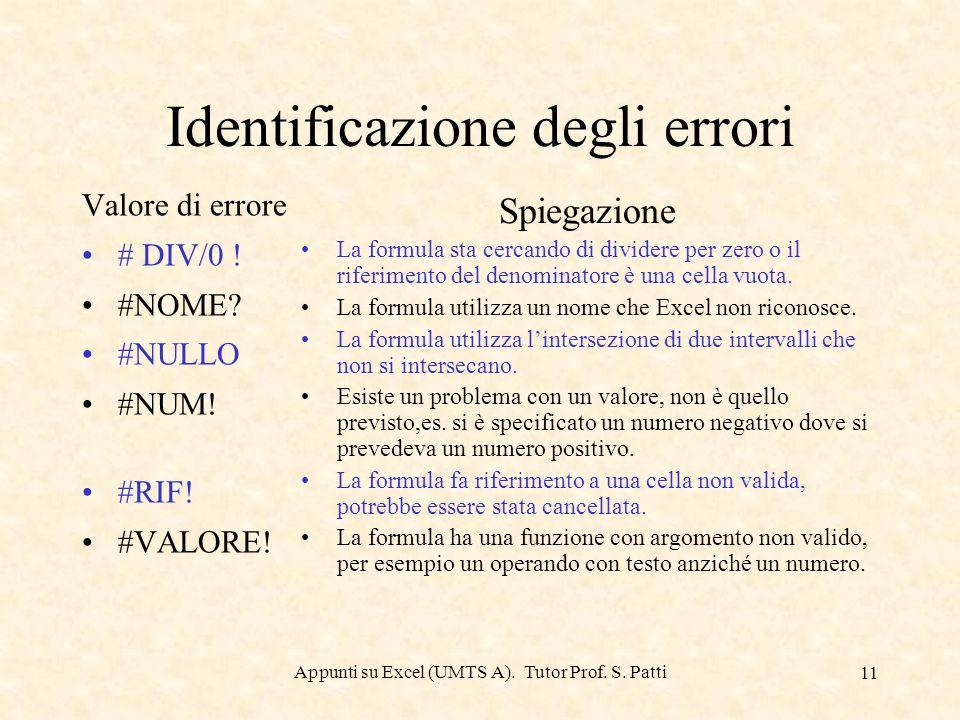Appunti su Excel (UMTS A). Tutor Prof. S. Patti 10 Precedenza degli operatori SimboloOperatore Precedenza ^Esponente1 *Moltiplicazione2 /Divisione2 +S