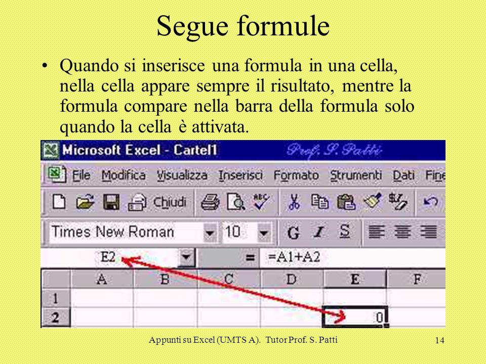 Appunti su Excel (UMTS A). Tutor Prof. S. Patti 13 Formule Le formule sono l'elemento fondamentale per lavorare su Excel. Tramite le formule si posson