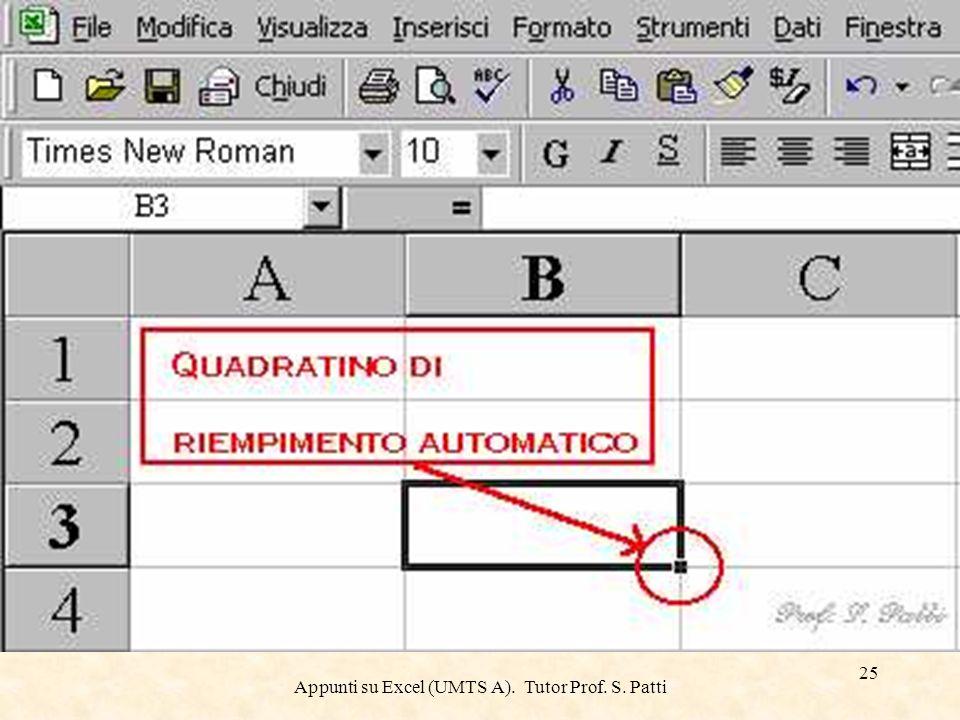 Appunti su Excel (UMTS A). Tutor Prof. S. Patti 24 Riempimento automatico Il Riempimento automatico utilizza il quadratino di riempimento visualizzato