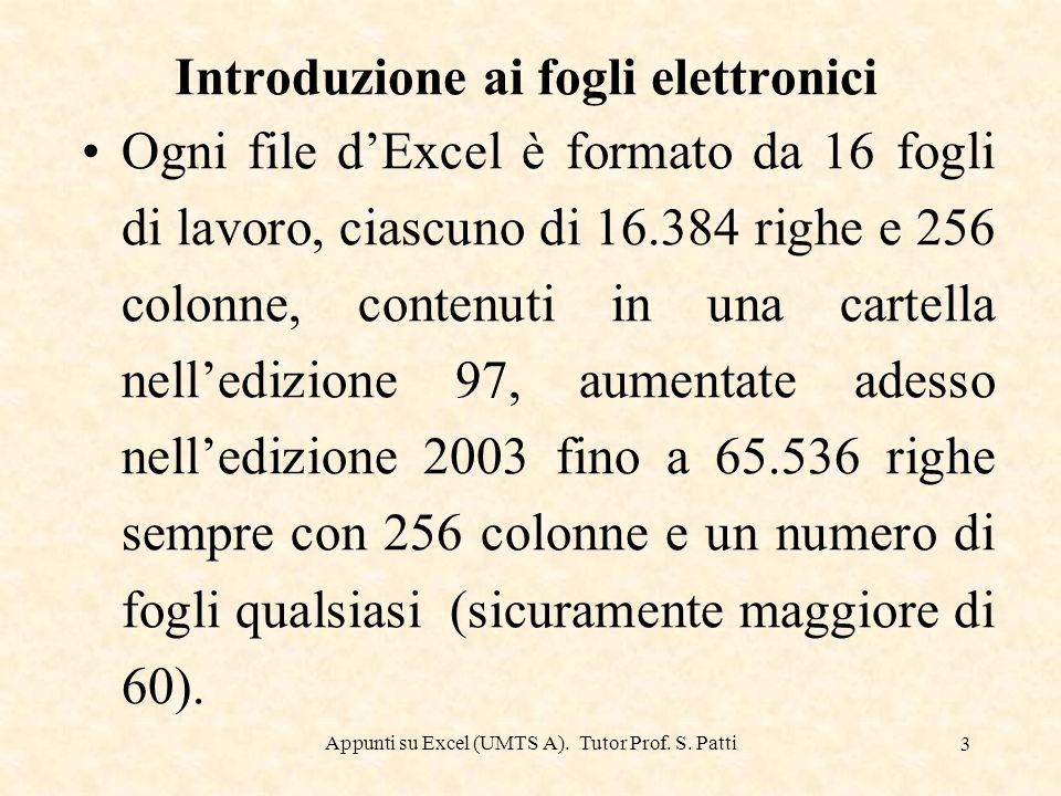 Appunti su Excel (UMTS A). Tutor Prof. S. Patti 2 Introduzione ai fogli elettronici Excel è un foglio elettronico. I fogli elettronici sono delle appl