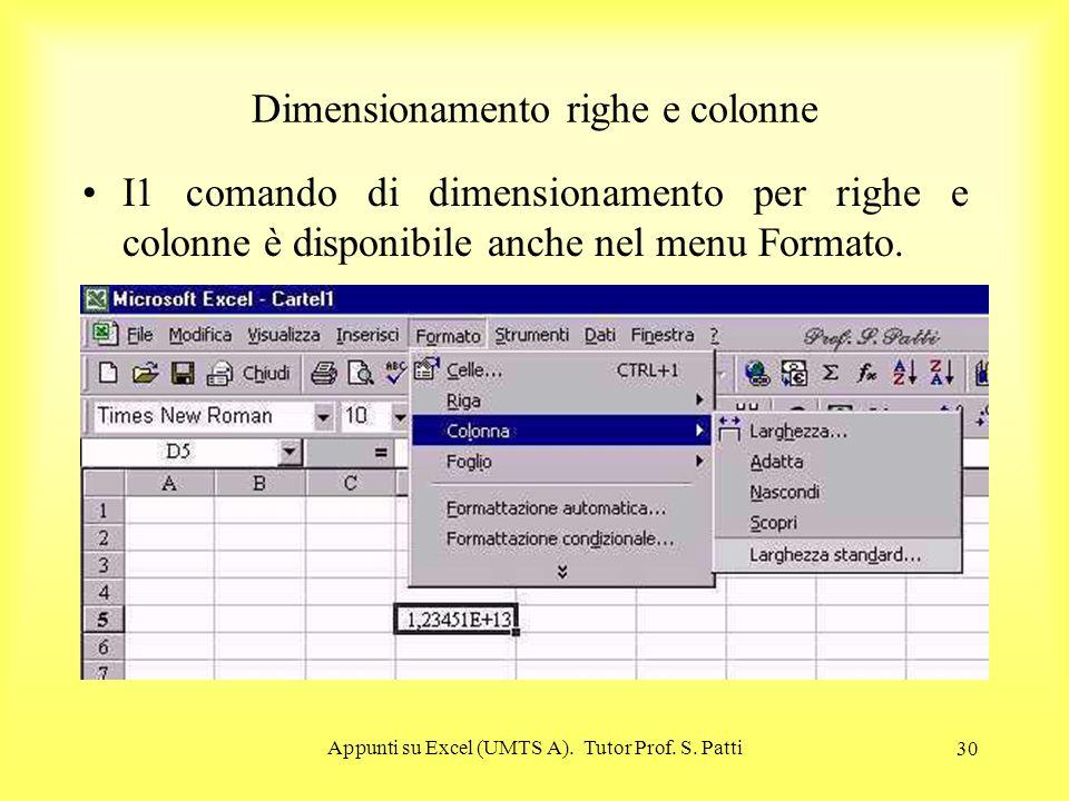 Appunti su Excel (UMTS A). Tutor Prof. S. Patti 29 Larghezza colonne Per visualizzare correttamente il numero si può allargare la colonna o cliccando