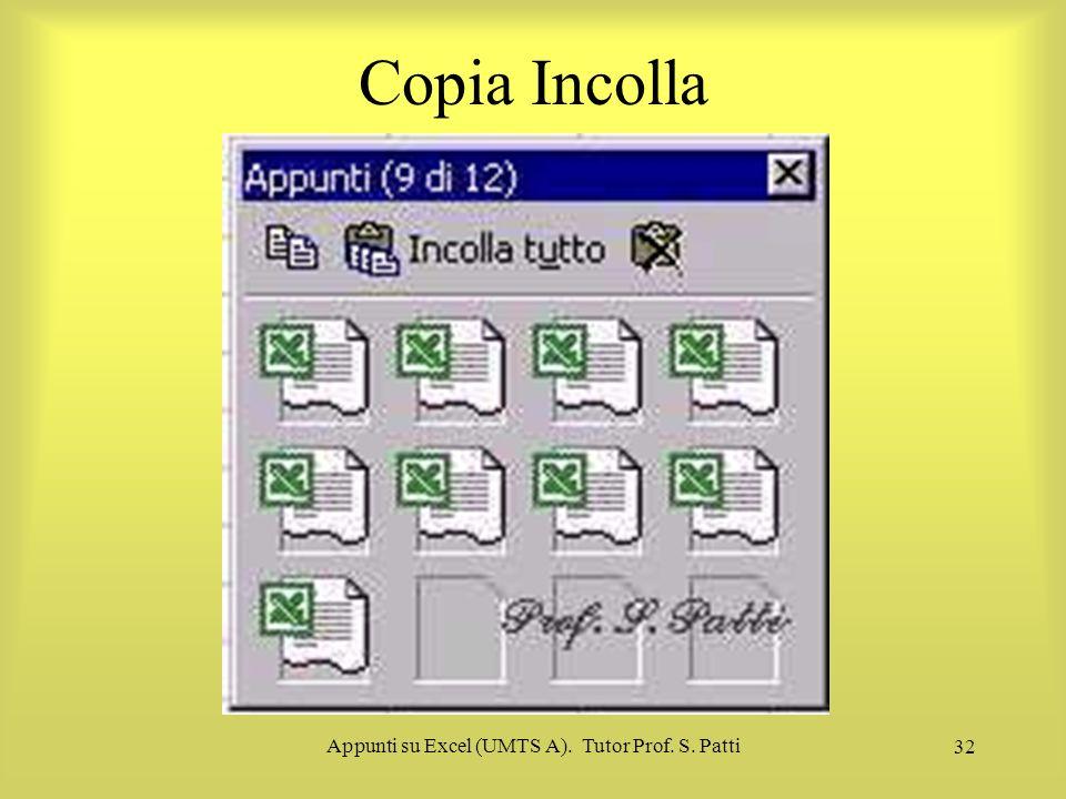 Appunti su Excel (UMTS A). Tutor Prof. S. Patti 31 Copia Incolla I1 contenuto di una cella può essere copiato in un'altra tramite il procedimento di c