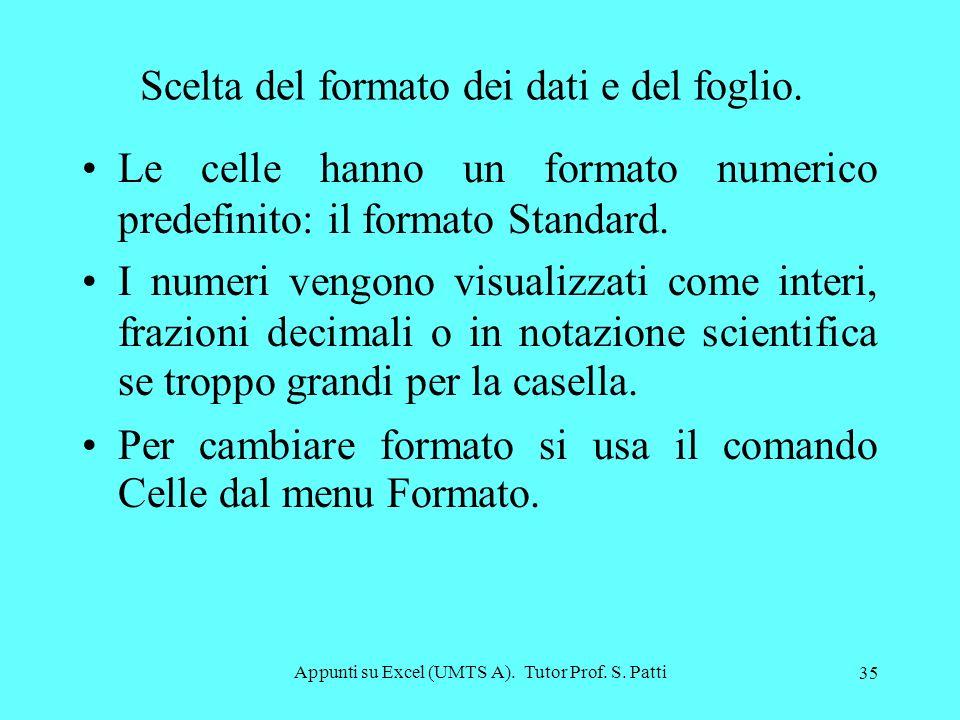 Appunti su Excel (UMTS A). Tutor Prof. S. Patti 34 Selezione di celle cliccare sulle celle tenendo premuto il tasto Ctrl per selezionare celle non con