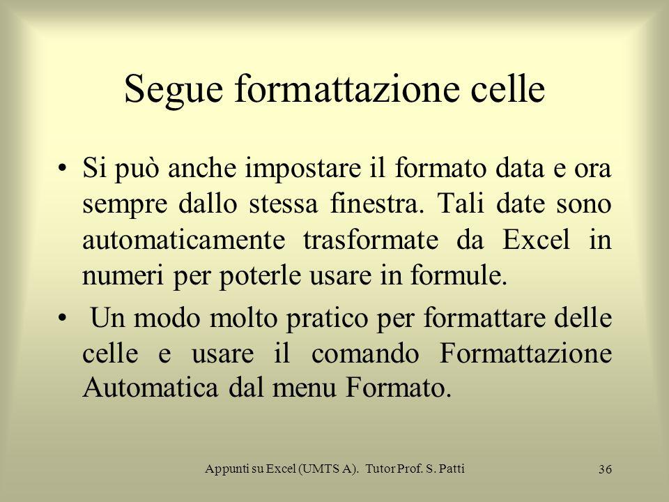Appunti su Excel (UMTS A). Tutor Prof. S. Patti 35 Scelta del formato dei dati e del foglio. Le celle hanno un formato numerico predefinito: il format