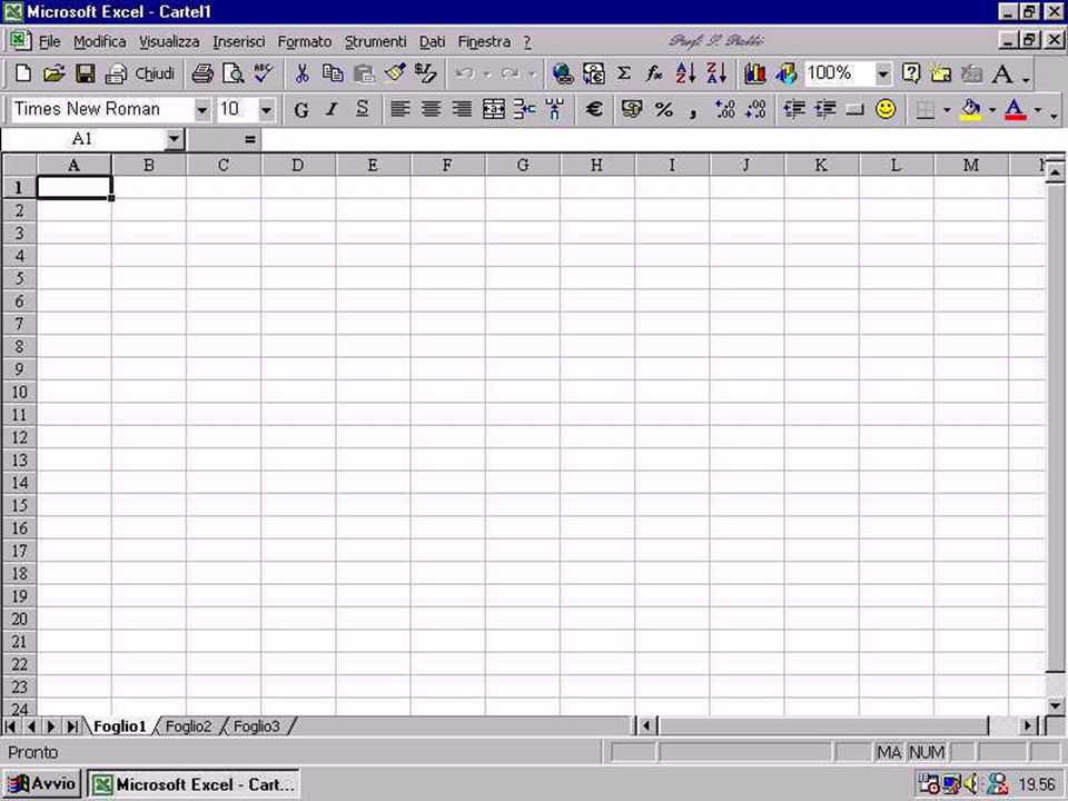 Appunti su Excel (UMTS A). Tutor Prof. S. Patti 4 Aspetto di un documento Excel vuoto