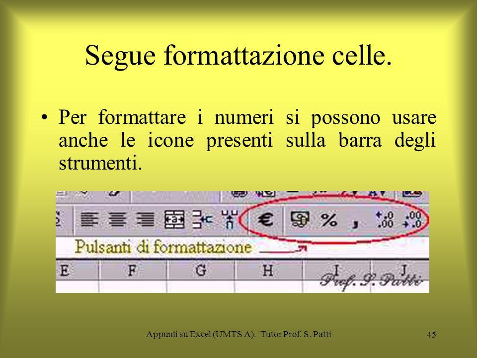 Appunti su Excel (UMTS A). Tutor Prof. S. Patti 44 Scelta del formato dei dati e del foglio