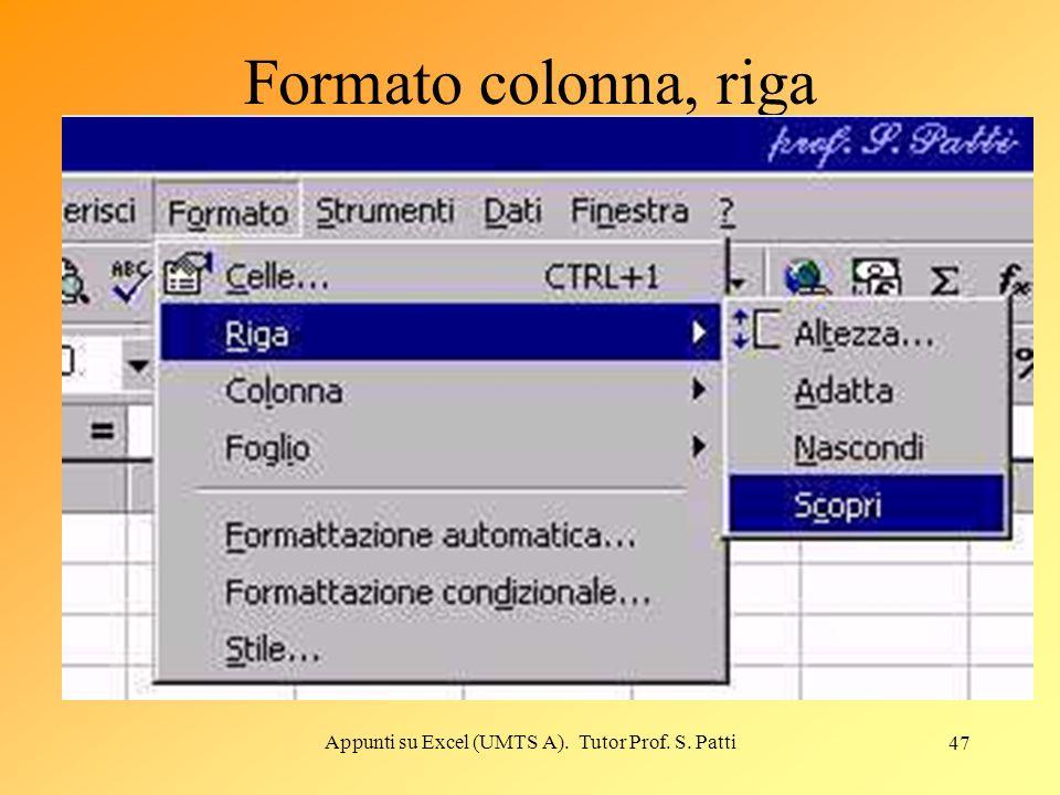 Appunti su Excel (UMTS A). Tutor Prof. S. Patti 46 Formattazione automatica