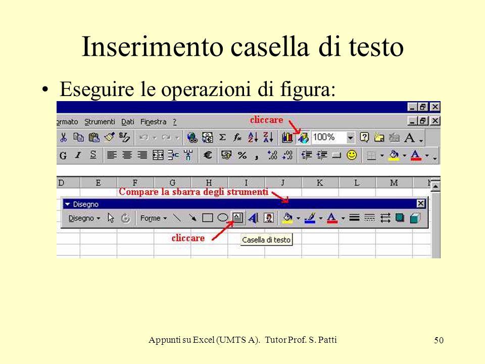 Appunti su Excel (UMTS A). Tutor Prof. S. Patti 49 Creazioni di serie di numeri o date