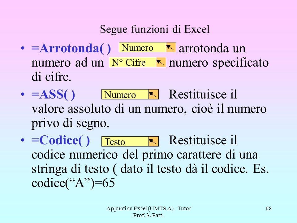 Appunti su Excel (UMTS A). Tutor Prof. S. Patti 67 Alcune funzioni di Excel =ADESSO( ) restituisce un numero seriale della data e dellora correnti es.