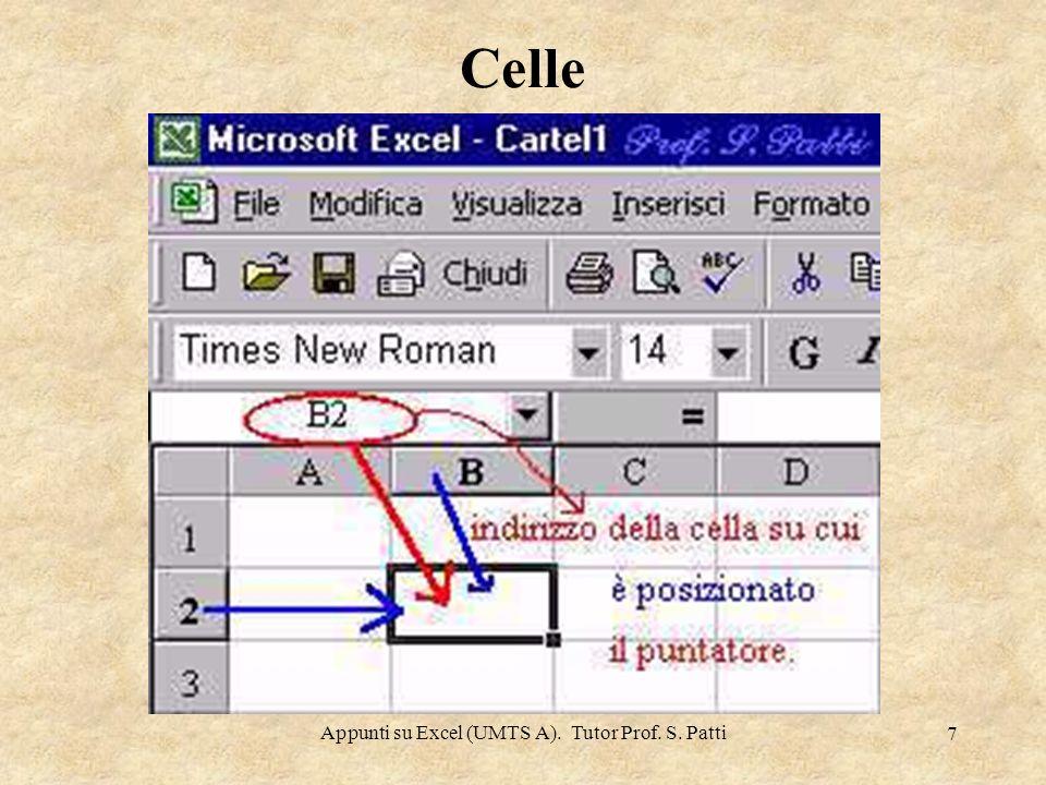 Appunti su Excel (UMTS A). Tutor Prof. S. Patti 6 Celle L'intersezione tra una riga e una colonna è detta cella. Una cella è l'unità elementare di un
