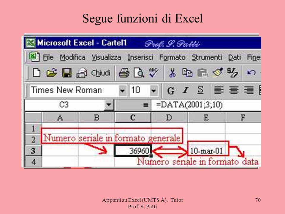 Appunti su Excel (UMTS A). Tutor Prof. S. Patti 69 Segue funzioni di Excel =CODICE. CARATT( ) Restituisce il carattere specificato del numero di codic