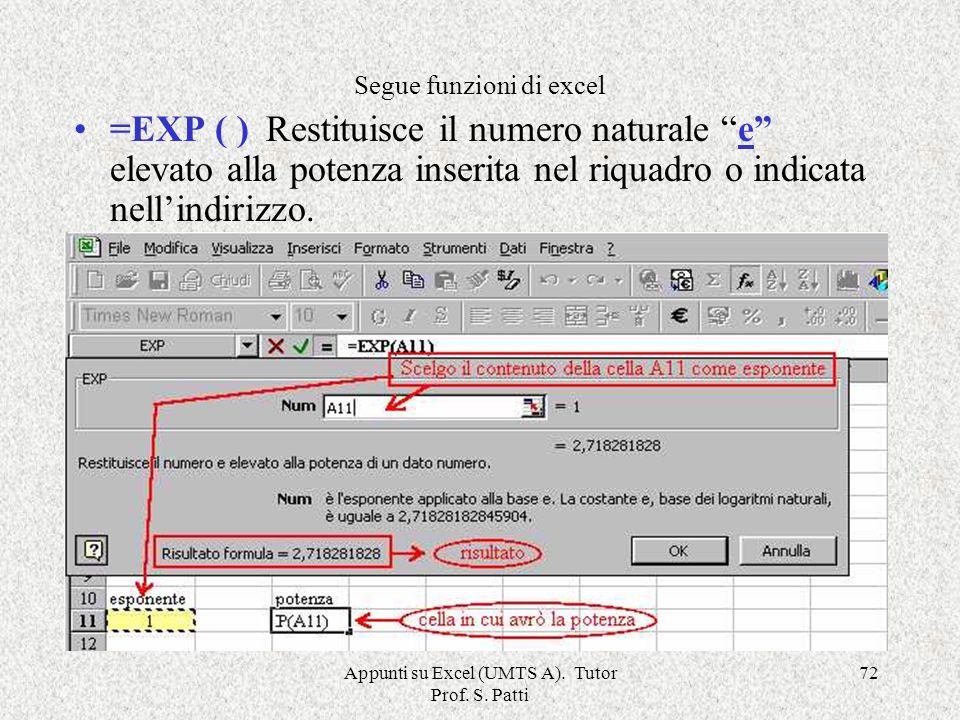 Appunti su Excel (UMTS A). Tutor Prof. S. Patti 71 =DATA.VALORE( ; )Restituisce il numero che rappresenta la data in codice data-ora Intervallo =DEV.S