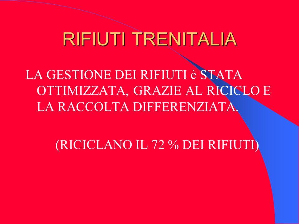RIFIUTI TRENITALIA LA GESTIONE DEI RIFIUTI è STATA OTTIMIZZATA, GRAZIE AL RICICLO E LA RACCOLTA DIFFERENZIATA. (RICICLANO IL 72 % DEI RIFIUTI)