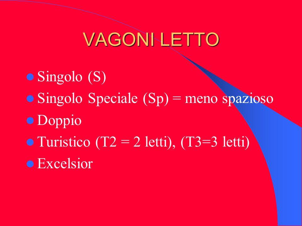 VAGONI LETTO Singolo (S) Singolo Speciale (Sp) = meno spazioso Doppio Turistico (T2 = 2 letti), (T3=3 letti) Excelsior
