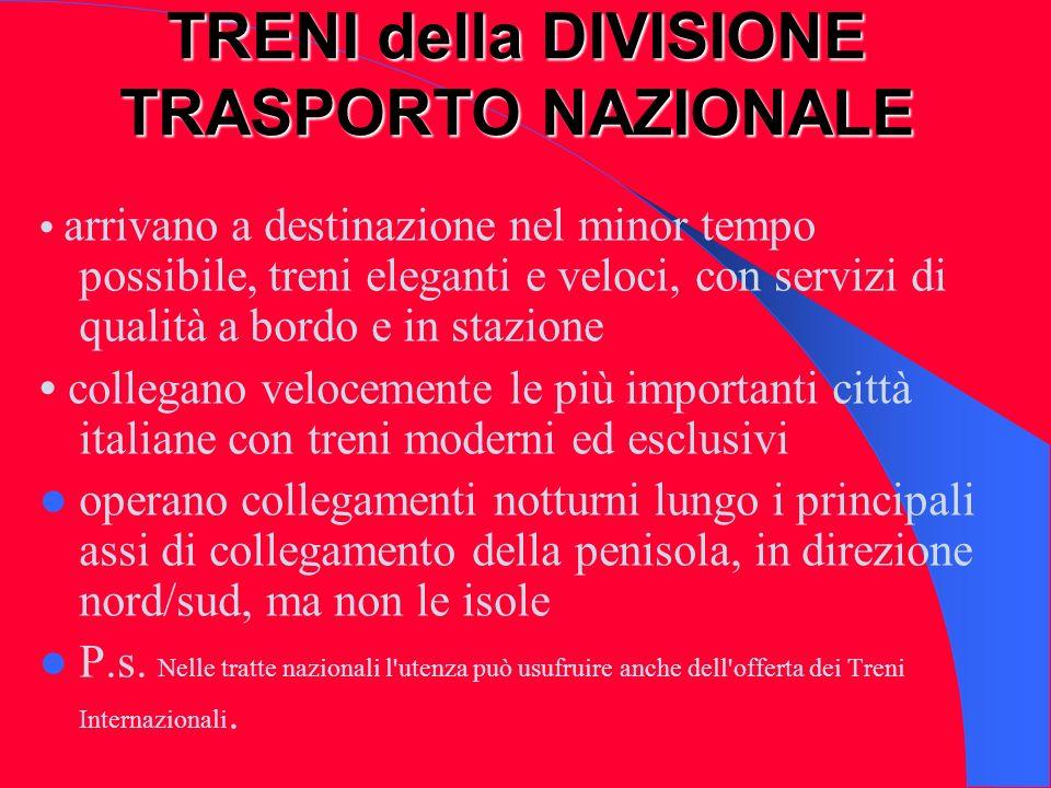 Treni Express (sigla = EX) Dotati di prima e seconda classe Operano su percorsi lunghi, da nord a sud Italia e v.v.