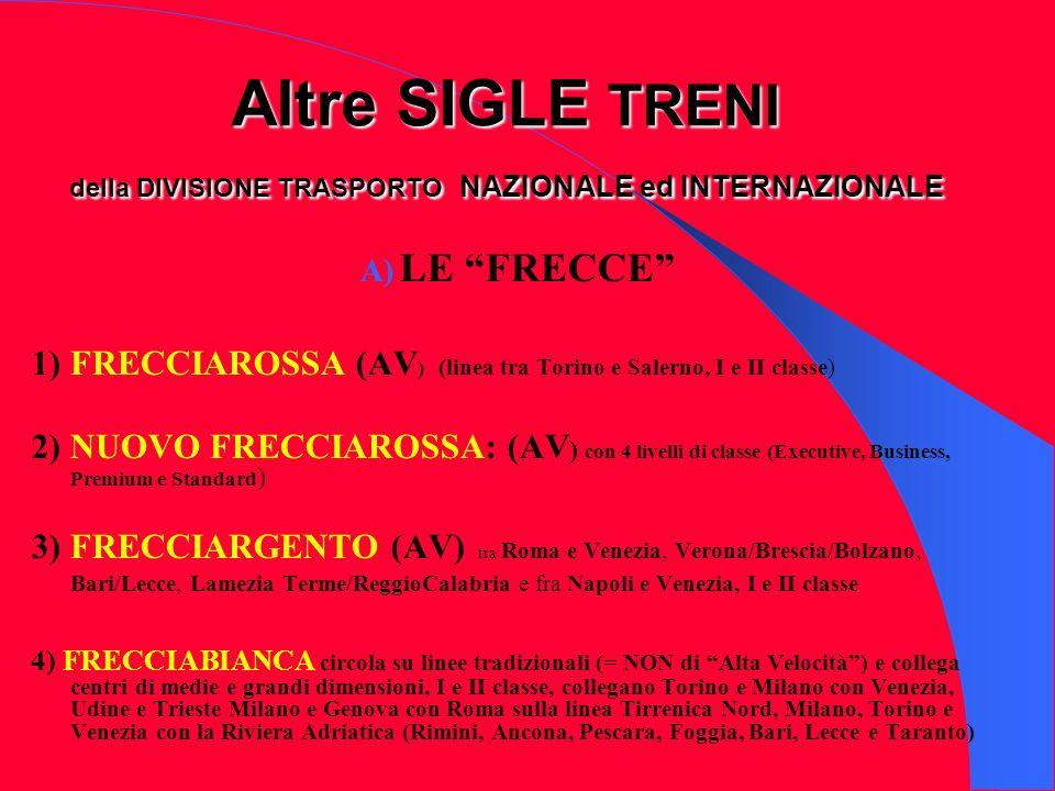Altre SIGLE TRENI della DIVISIONE TRASPORTO NAZIONALE ed INTERNAZIONALE A) LE FRECCE 1) FRECCIAROSSA (AV ) (linea tra Torino e Salerno, I e II classe)