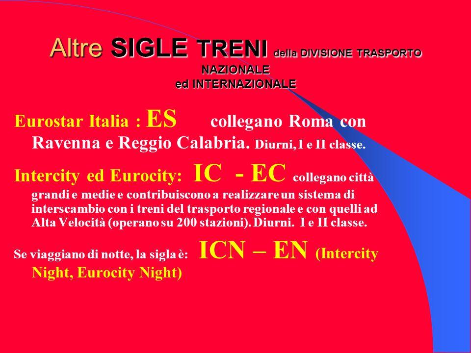 Altre SIGLE TRENI della DIVISIONE TRASPORTO NAZIONALE ed INTERNAZIONALE Eurostar Italia : ES collegano Roma con Ravenna e Reggio Calabria. Diurni, I e