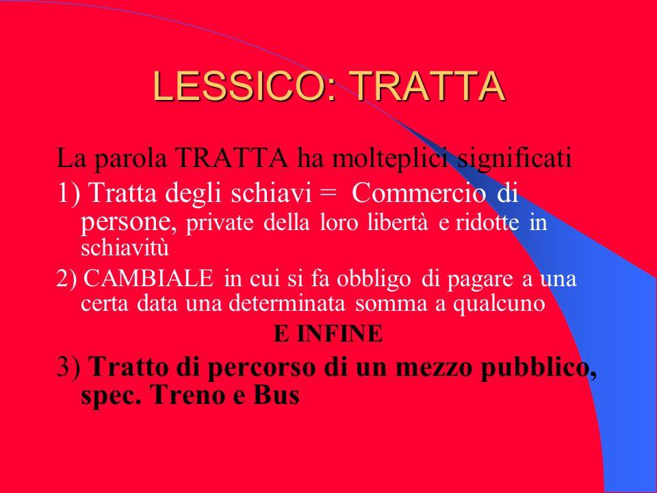 LESSICO: TRATTA La parola TRATTA ha molteplici significati 1) Tratta degli schiavi = Commercio di persone, private della loro libertà e ridotte in sch