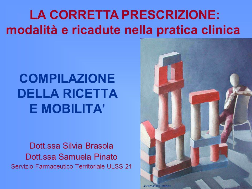 COMPILAZIONE DELLA RICETTA E MOBILITA Dott.ssa Silvia Brasola Dott.ssa Samuela Pinato Servizio Farmaceutico Territoriale ULSS 21 LA CORRETTA PRESCRIZI