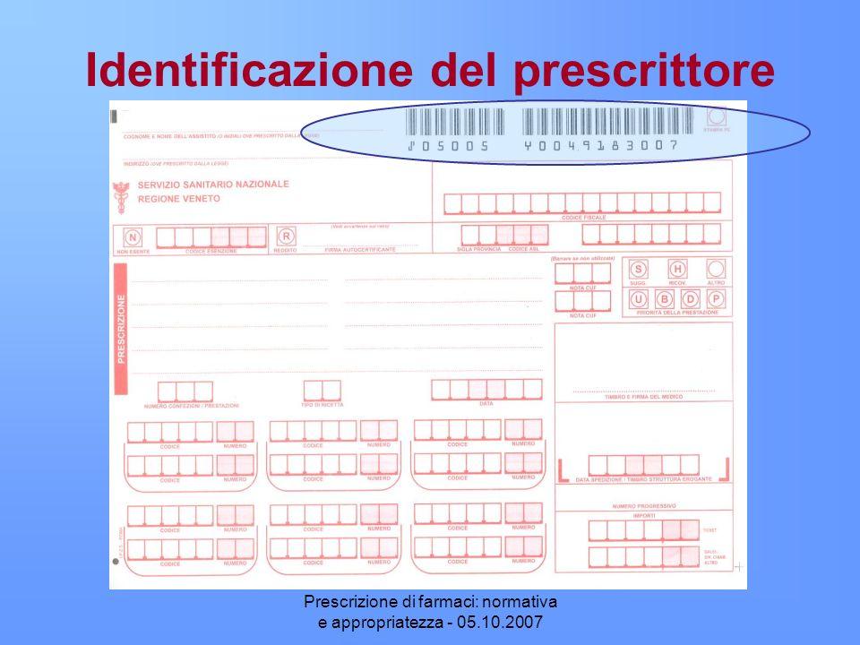Prescrizione di farmaci: normativa e appropriatezza - 05.10.2007 Identificazione del prescrittore
