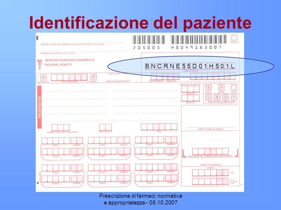 Prescrizione di farmaci: normativa e appropriatezza - 05.10.2007 Identificazione del paziente B N C R N E 5 5 D 0 1 H 5 0 1 L