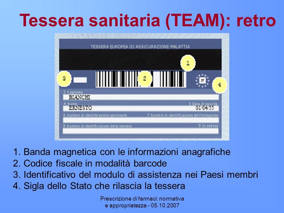 Prescrizione di farmaci: normativa e appropriatezza - 05.10.2007 1.Banda magnetica con le informazioni anagrafiche 2.Codice fiscale in modalità barcod