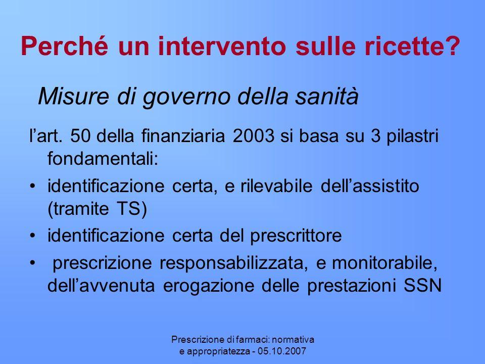 Prescrizione di farmaci: normativa e appropriatezza - 05.10.2007 Perché un intervento sulle ricette? lart. 50 della finanziaria 2003 si basa su 3 pila