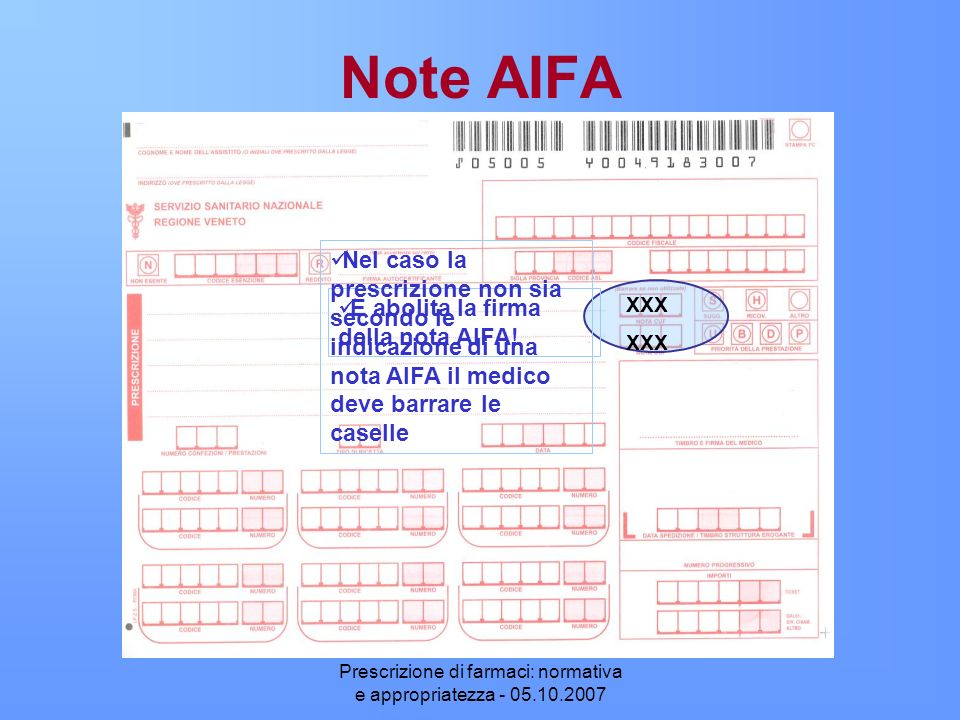Prescrizione di farmaci: normativa e appropriatezza - 05.10.2007 Note AIFA È abolita la firma della nota AIFA! Nel caso la prescrizione non sia second