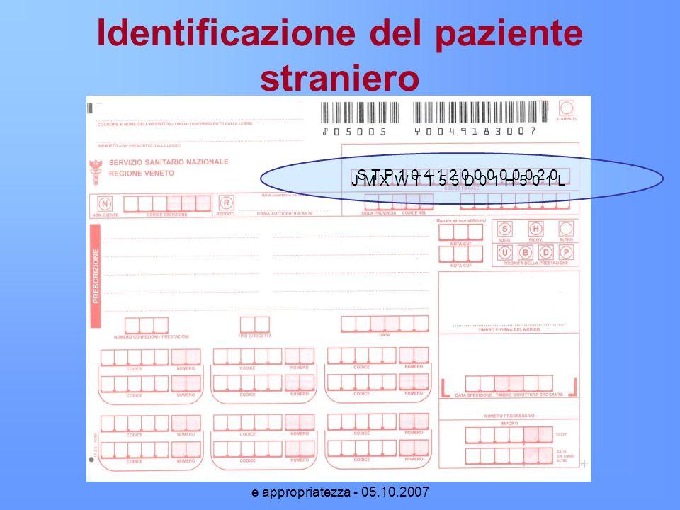 Prescrizione di farmaci: normativa e appropriatezza - 05.10.2007 Identificazione del paziente straniero J M X W T T 5 5 D 0 1 H 5 0 1 L S T P 1 0 4 1
