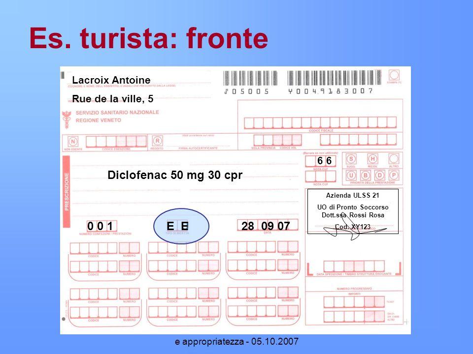 Prescrizione di farmaci: normativa e appropriatezza - 05.10.2007 Es. turista: fronte 6 6 Lacroix Antoine Rue de la ville, 5 Diclofenac 50 mg 30 cpr 0