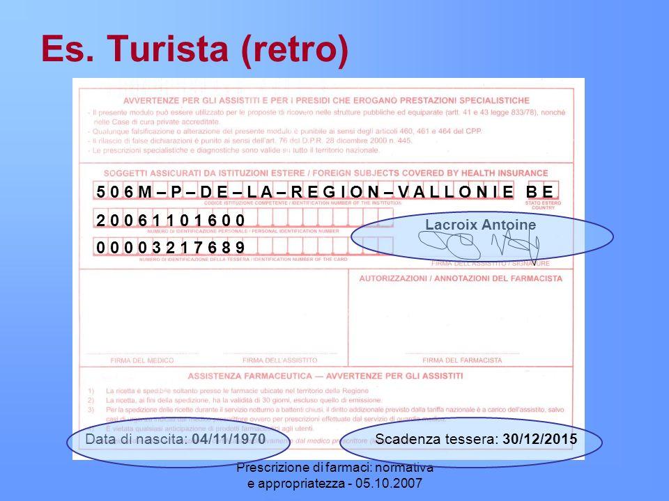 Prescrizione di farmaci: normativa e appropriatezza - 05.10.2007 Es. Turista (retro) 5 0 6 M – P – D E – L A – R E G I O N – V A L L O N I EB E 2 0 0