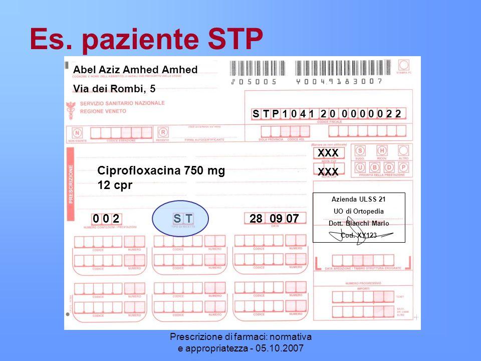 Prescrizione di farmaci: normativa e appropriatezza - 05.10.2007 Es. paziente STP XXX Abel Aziz Amhed Amhed Via dei Rombi, 5 Ciprofloxacina 750 mg 12