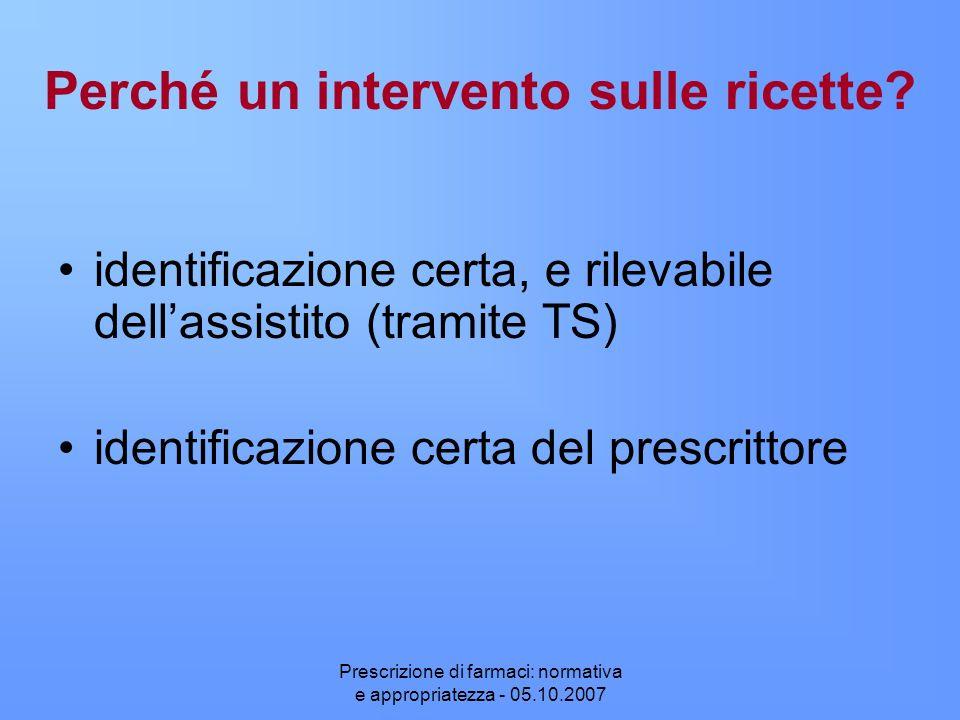 Prescrizione di farmaci: normativa e appropriatezza - 05.10.2007 Perché un intervento sulle ricette? identificazione certa, e rilevabile dellassistito