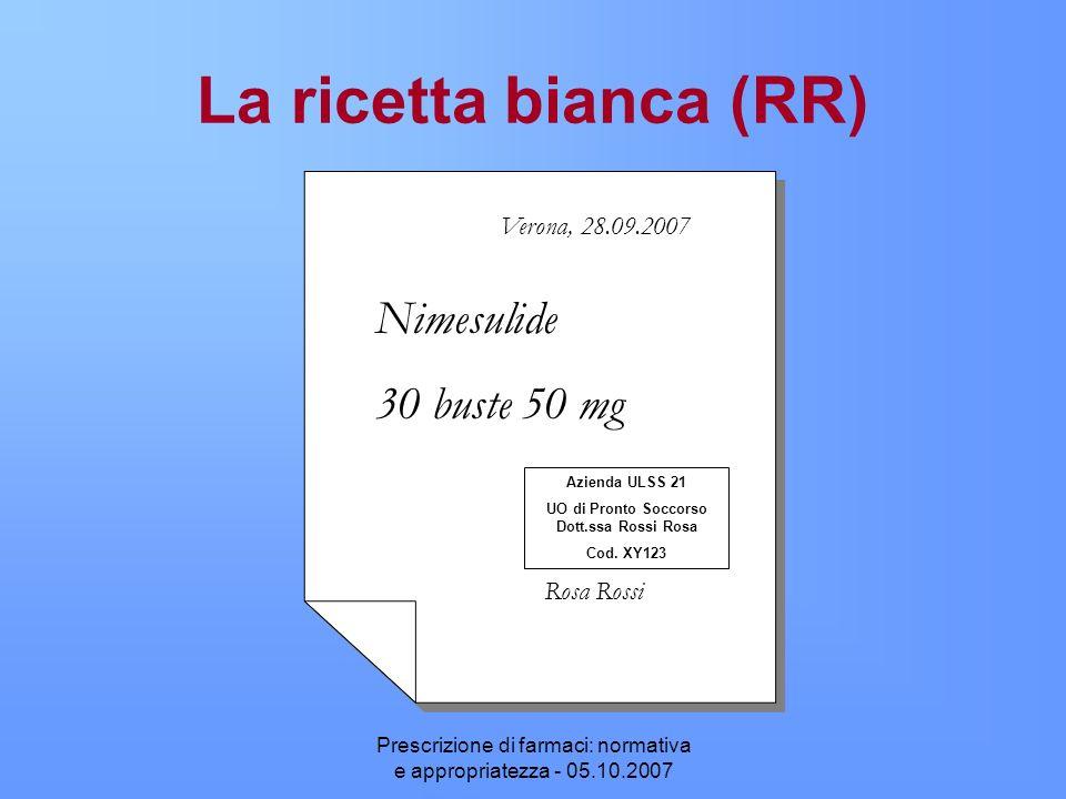 Prescrizione di farmaci: normativa e appropriatezza - 05.10.2007 La ricetta bianca (RR) Nimesulide 30 buste 50 mg Verona, 28.09.2007 Rosa Rossi Aziend