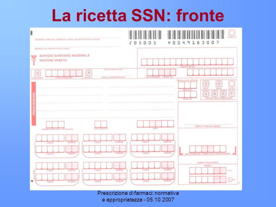 Prescrizione di farmaci: normativa e appropriatezza - 05.10.2007 La ricetta SSN: fronte