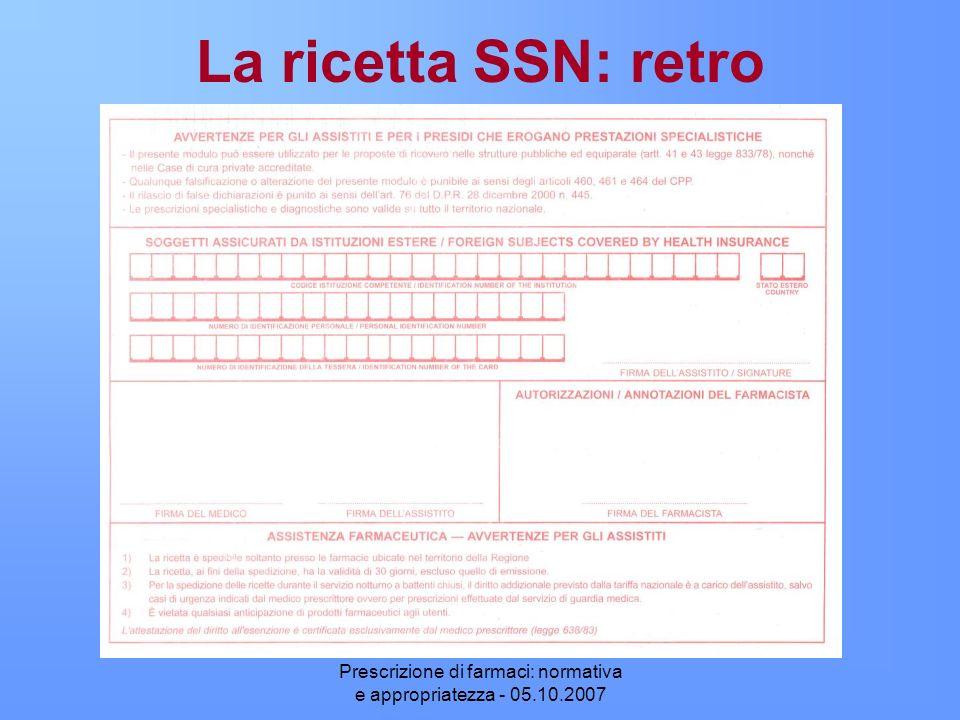 Prescrizione di farmaci: normativa e appropriatezza - 05.10.2007 La ricetta SSN: retro